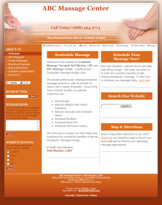 With your massage liability insurance policy, you can customize this rich, burnt orange template to reflect your practice's unique personality. Start building your online presence today!