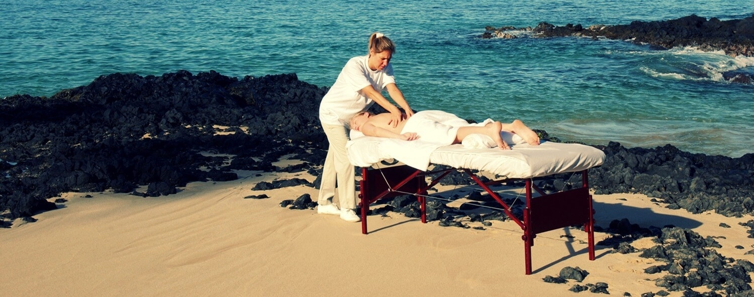 Getting a professional massage on the beach in Florida